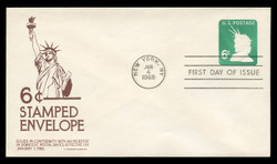 U.S. Scott #U551 6c Statue of Liberty Envelope First Day Cover.  Anderson cachet, BROWN variety.