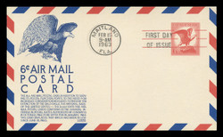 U.S. Scott #UXC 4 6c Eagle Airmail Postal Card First Day Cover.  Anderson cachet, BLUE variety.