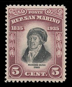 SAN MARINO Scott #  169, 1935 5c Melchiorre Delfico, brown lake