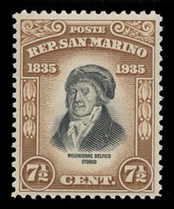 SAN MARINO Scott #  170, 1935 7½c Melchiorre Delfico, light brown