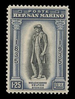 SAN MARINO Scott #  178, 1935 1.25 lire Melchiorre Delfico Statue, dark blue