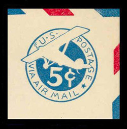 U.S. Scott # UC  1 1929 5c Plane, Blue Background, Die 1, Border e(5) - Mint Cut Square (See Warranty)