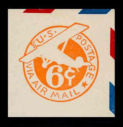 U.S. Scott # UC  3 1934 6c Plane, Orange Background, Die 2a, Border d(4) - Mint Cut Square (See Warranty)