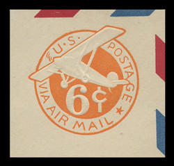 U.S. Scott # UC  4 1942 6c Plane, Orange Background, Die 2b, Border d(4) - Mint Cut Square (See Warranty)