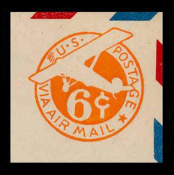 U.S. Scott # UC  6 1942 6c Plane, Orange Background, Die 3, Border d(4) - Mint Cut Square (See Warranty)