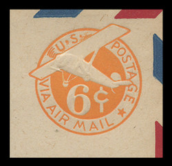 U.S. Scott # UC  6-REC 1942 6c Plane, Orange Background, Die 3, Border b(2) Re-Cut Die, (Thin Strut), - Mint Cut Square (See Warranty)