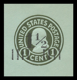 U.S. Scott # U 498a, 1925 1½c on 1c (U423) Franklin, green on blue, Die 1 - Mint Cut Square