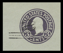 U.S. Scott # U 451c, 1920-1 2c on 3c (U439c) Washington, dark violet on blue, Die 6 - Mint Cut Square