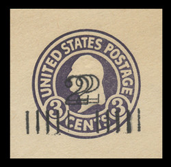 U.S. Scott # U 458h, 1920-1 2c on 3c (U436b) Washington, dark violet on white, Die 5 - Double Surcharge Error - Mint Cut Square