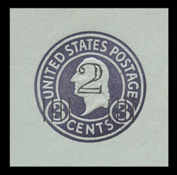 U.S. Scott # U 471b, 1920-1 2c on 3c (U439c) Washington, dark violet on blue, Die 6 - Mint Cut Square