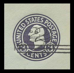 U.S. Scott # U 471e6, 1920-1 2c on 3c (U439c) Washington, dark violet on blue, Die 6 - Type 4/Type 2 Double Surcharge Error - Mint Cut Square (See Warranty)