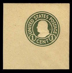 U.S. Scott # U 421a, 1915-32 1c Franklin, green on amber, Die 2 - Mint Full Corner