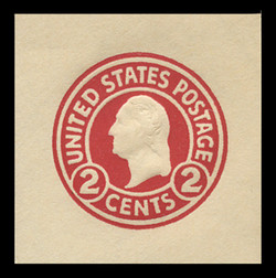 U.S. Scott # U 429, 1915-32 2c Washington, carmine on white, Die 1 - Mint Cut Square