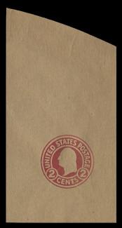 U.S. Scott # U 434X, 1915-32 2c Washington, carmine on glazed brown, Die 1, Error (printed on the wrong (unglazed) side) - Mint Full Corner