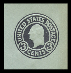 U.S. Scott # U 439a, 1915-32 3c Washington, dark violet on blue, Die 1 - Mint Cut Square