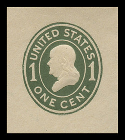 U.S. Scott # U 400, 1907-16 1c Franklin, green on white, Die 1 - Mint Cut Square