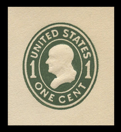 U.S. Scott # U 400c, 1907-16 1c Franklin, green on white, Die 4 - Mint Cut Square