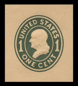 U.S. Scott # U 402c, 1907-16 1c Franklin, green on buff, Die 4 - Mint Cut Square