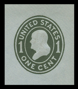 U.S. Scott # U 403, 1907-16 1c Franklin, green on blue, Die 1 - Mint Cut Square