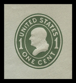 U.S. Scott # U 403c, 1907-16 1c Franklin, green on blue, Die 4 - Mint Cut Square