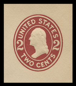 U.S. Scott # U 406a, 1907-16 2c Washington, brown red on white, Die 2 - Mint Cut Square