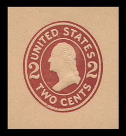 U.S. Scott # U 408a, 1907-16 2c Washington, brown red on buff, Die 2 - Mint Cut Square (See warranty)