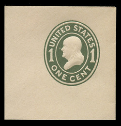 U.S. Scott # U 400, 1907-16 1c Franklin, green on white, Die 1 - Mint Full Corner