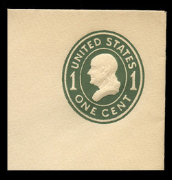 U.S. Scott # U 400c, 1907-16 1c Franklin, green on white, Die 4 - Mint Full Corner