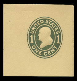 U.S. Scott # U 401, 1907-16 1c Franklin, green on amber, Die 1 - Mint Full Corner