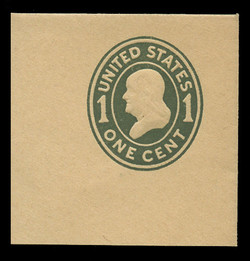 U.S. Scott # U 404, 1907-16 1c Franklin, green on manila, Die 1 - Mint Full Corner