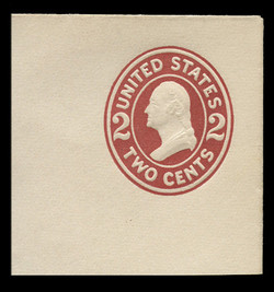 U.S. Scott # U 406, 1907-16 2c Washington, brown red on white, Die 1 - Mint Full Corner