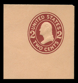 U.S. Scott # U 408, 1907-16 2c Washington, brown red on buff, Die 1 - Mint Full Corner