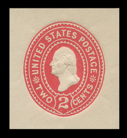 U.S. Scott # U 358, 1899 2c Washington, Die 1, carmine on white - Mint Cut Square