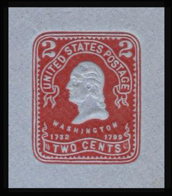 U.S. Scott # U 398, 1904 2c Washington, recut, carmine on blue - Mint Cut Square (See Warranty)