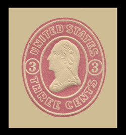U.S. Scott # U  34, 1861 3c Washington, pink on white - Mint Cut Square