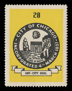 Chicagoland Poster Stamps of  1938 - # 28 City Seal, 1837