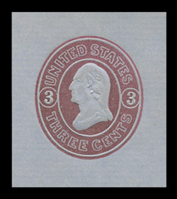 U.S. Scott # U  36, 1861 3c Washington, pink on blue - Mint Cut Square