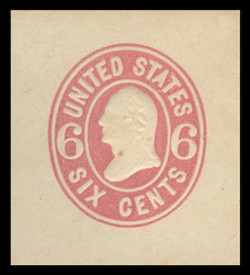U.S. Scott # U  62, 1865 6c Washington, pink on white - Mint Cut Square