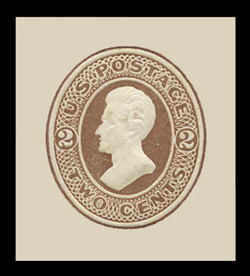 U.S. Scott # U  78, 1870 2c Jackson, brown on white - Mint Cut Square