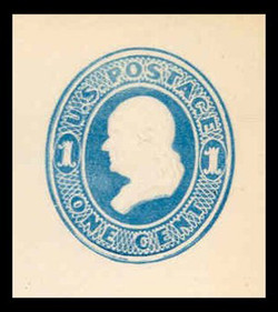 U.S. Scott # U 113, 1874 1c Franklin, Die 2, light blue on white - Mint Cut Square
