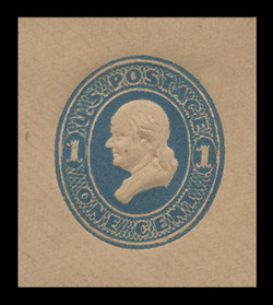 U.S. Scott # U 118, 1879 1c Franklin, Die 2, light blue on fawn - Mint Cut Square