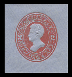 U.S. Scott # U 146, 1880 2c Jackson, Die 5, vermilion on blue - Mint Cut Square