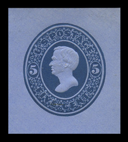U.S. Scott # U 175, 1875 5c Taylor, Die 1, blue on blue - Mint Cut Square