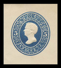 U.S. Scott # U 177, 1875 5c Taylor, Die 2, blue on white - Mint Cut Square