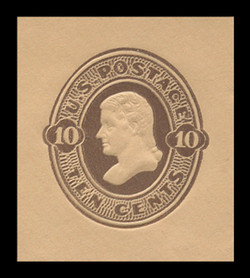 U.S. Scott # U 191, 1886 10c Jefferson, Die 2, brown on buff - Mint Cut Square