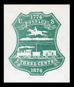 U.S. Scott # U 219, 1876 3c Centennial, single line, green on white - Mint Cut Square