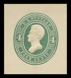 U.S. Scott # U 256, 1886 4c Jackson, Die 2, green on white - Mint Cut Square