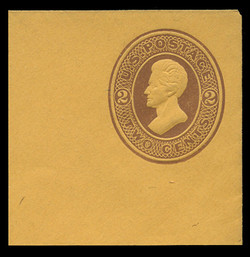 U.S. Scott # U  80, 1870 2c Jackson, brown on orange - Mint Full Corner