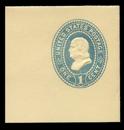 U.S. Scott # U 296, 1894 1c Franklin, blue on amber - Mint Full Corner
