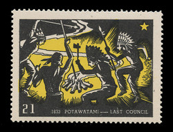 Chicagoland Poster Stamps of  1938 - # 21 Potawatami - Last Council, 1833